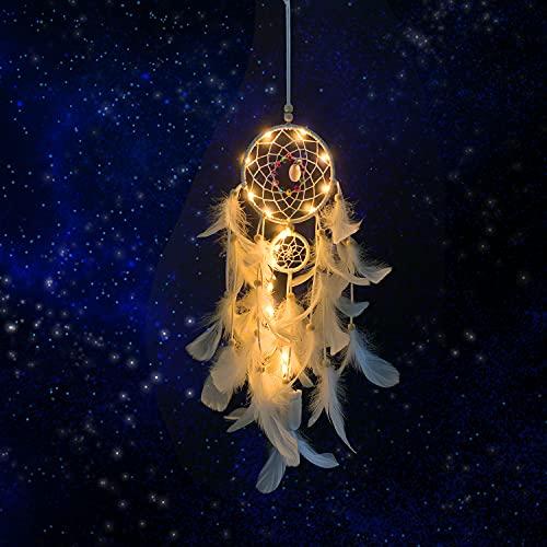 Wisdom1674 Atrapasueños Led, Atrapasueños con Luz LED Hecho a Mano Naturales Dreamcatcher Colgante con Pluma, Adornos Colgar Pared para Plumas Decoracion, Habitación, Decoración del Hogar