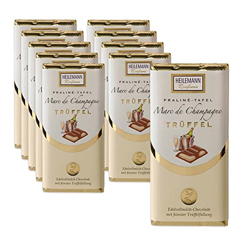 10er SET Marc de Champagne Trüffel Täfelchen Edelvollmilch Schokolade 45 g Tafel