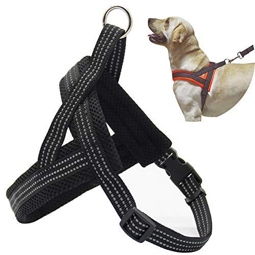 BPS® Arnés Correa para Perros Mascotas Collar Ajustable 4 Tamaños Colores para Elegir para Perro Pequeño Mediano y Grande (M, Negro) BPS-3882N