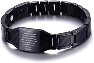 Always Remember You are Braver Inspirational Courage Quote to My Son Stainless Steel Magnetic Therapy Bracelets to Son