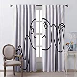 Toopeek Humor Blackout Curtain Whatever Guy Meme Confusion Gesture Label Creative Drawing Rage Makers Design 2 Panels W96 x L108 Inch Black and White