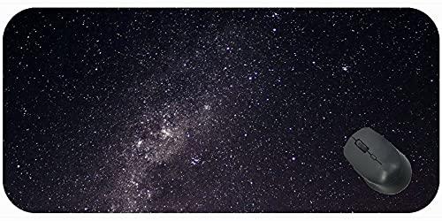 Desk Mousepad Komputer Mata Klawiatura z szyte krawędzi, gwiaździste niebo Galaxy Milky Way Glitter Night Komfortowa mata myszy do gier i biura