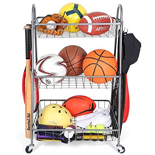 Sports Equipment Storage , Garage Storage System, Ball Storage Rolling Sports Storage Organizer with Garage Toy Storage and Hooks, Outdoor Garage Ball Storage, Sports Gear Storage for Kids