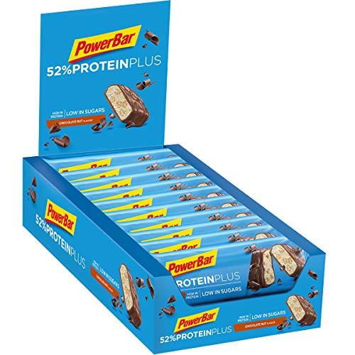 PowerBar Protein Plus 52{67afcc1b061f30670df1b60bc485567954f829e2cf11aec0a6394bfa59571e80} Chocolate Nut 20x50g - High Protein Low Sugar Riegel