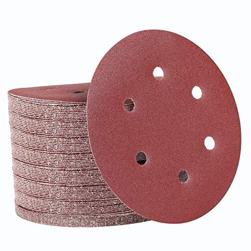 150mm Klett Schleifpapier Rund für Exzenterschleifer, 100 Stück Schleifscheiben Set für Holz Holzwerkstoffe 40-800 Körnung (6 Loch)