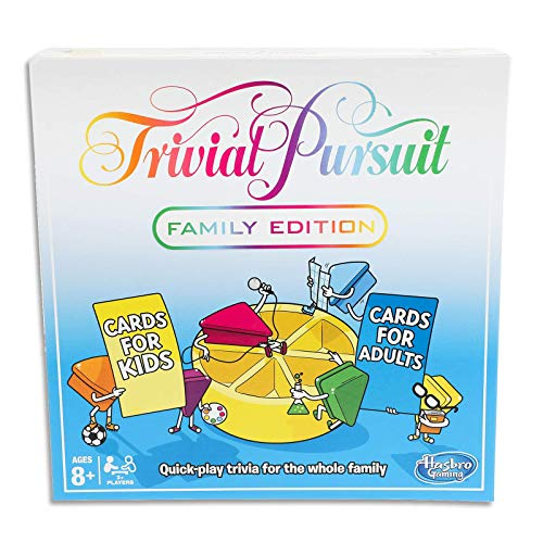 Trivial Pursuit Family Edition- 2 to 6 Players- Kids and Adult Cards- Board Games- Ages 8+