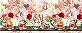 Homelife Alfombra Vinílica de Cocina Lavable y Antideslizante Alfombra Rectangular de PVC Antimanchas, Interior y Exterior | Alfombra Pasillera con Rosas Estampadas (52x100 cm)