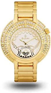 Suenx watch for women, analog, stainless steel, golden white dial