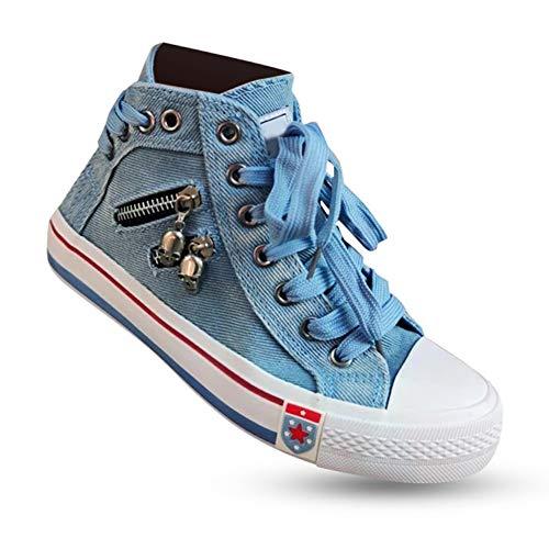YOUNGE Damen Denim High-Top Back Lace Design Leinwand Turnschuhe Schuhe Mädchen Teen Student Schuhe Women's Denim High-Top Back Lace Design Canvas Sneakers Shoes Girl Teen Student Shoes