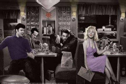 Blue Plate Diner with James Dean Marilyn Monroe Elvis Presley and Humphrey Bogart by Chris Consani 36x24 Art Print Poster Wall Decor Celebrity Movie Stars Eating at Diner Icons Hollywood Sassy Heaven Diner