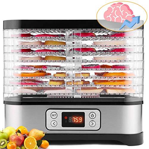 Myeykey Dörrautomat, 8 Tabletts, Dörrgerät, Dörrautomat mit temperaturregler, Obst- Fleisch- und Früchte-Trockner, Einstellbare Temperatur (35 ° C-70 ° C), 400 W, LCD