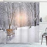 ABAKUHAUS Winter Duschvorhang, Stadtpark Sonnenuntergang Wald, mit 12 Ringe Set Wasserdicht Stielvoll Modern Farbfest & Schimmel Resistent, 175x240 cm, Orange Weiß Umbrabraun
