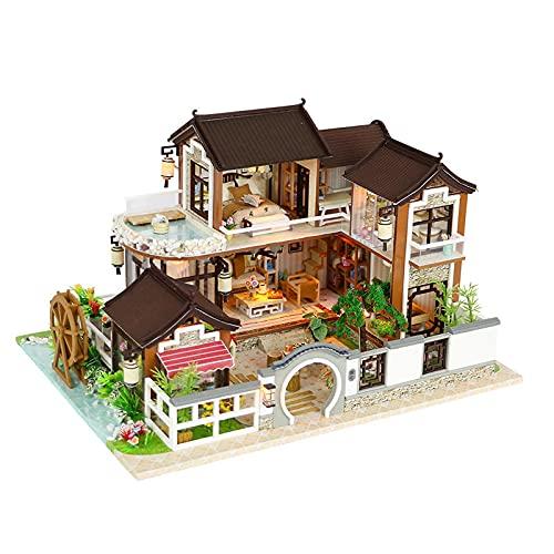 NIKALONG Muebles De Madera Modernos, Mini - Casa De MuñEcas, Casa De MuñEcas DIY, Casa De MuñEcas Hecha A Mano, Sala De Juegos Modelo Creativo, DíA De La Novia (Villa)