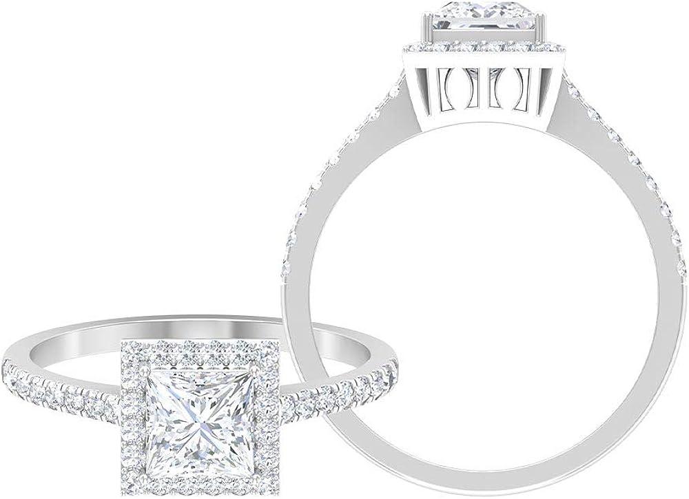 Princess Cut 1.00 CT D-VSSI Moissanite Wedding Ring Set, Unique Full Eternity Band Rings, Anniversary Side Stone Ring, Women Gold Moissanite Ring Set, 14K Gold