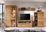 Froschkönig24 Reading Wohnwand Anbauwand Wohnzimmer 4-teilig Eiche massiv geölt