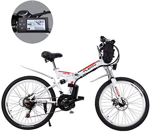 Bicicletas de montaña eléctrica, 24 pulgadas extraíble de litio de la batería de montaña plegable eléctrica de la bicicleta con bolso colgante de tres formas de conducción adecuados for hombres y muje