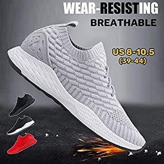Fashion Men Flyknit Sneakers Breathable Mesh Running Sports Shoes Athletic Walking Sneakers(Grey,US 8 (EU 39))