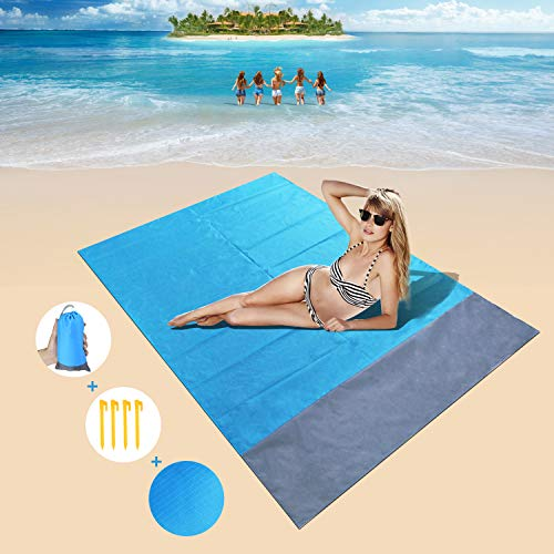 HIFUAR Sand Free Beach Blanket/Picnic Blanket-55'' x 78.7'' Family Size (3-5 Adults) -Quick Drying, Packable-Best Sand Proof Picnic Mat for Travel, Camping, Hiking and Music Festivals 4 Stakes