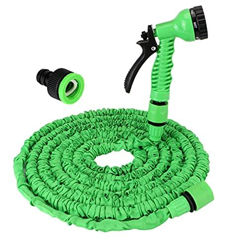 LLGL Manguera de jardín, Manguera telescópica de 100 pies, con 7 Funciones de rociado, rociador de Alta presión Adecuado para la Limpieza del hogar, el jardín y el automóvil (50ft,Green)