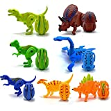 7 Pcs,Creative Simulation Dinosaur Egg Deformation Toy Model, Tyrannosaurus Plesiosaurus Triceratops Vice Chlamysaurus Props Gifts