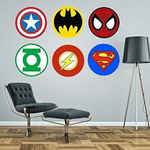 Nettyspaghetti Graphics Lot de stickers muraux Motif emblèmes de super-héros Superman Spiderman Batman Captain America Green Lantern et Flash, Vinyle, Green, X-Small - each logo 15cm wide
