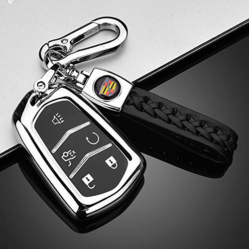 121Fruit Way Key Fob Cover for Cadillac, Key Fob Case for 2015-2019 Cadillac Escalade CTS SRX XT5 ATS STS CT6 5-Buttons Premium Soft TPU 360 Degree Full Protection Silver