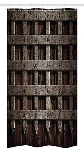 wobuzhidaoshamingzi douchegordijn met middeleeuwse stallen van hout met wanden en poort van metaal in Griekse stijl met opdruk midden eeuw.