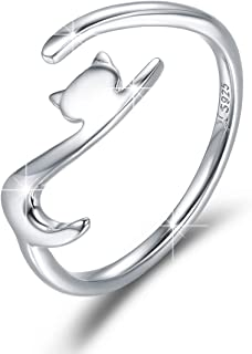 sterling silver adjustable cat ring