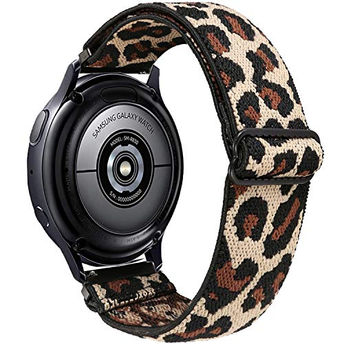 Olytop Elastic Strap for Galaxy Watch Active 2 Bands 40mm 44mm/Galaxy Watch 42mm/Watch 3 41mm Bands, 20mm Soft Stretch Breathable Wristband Girl Women for Samsung Galaxy Watch 42mm/Active 2 - Leopard