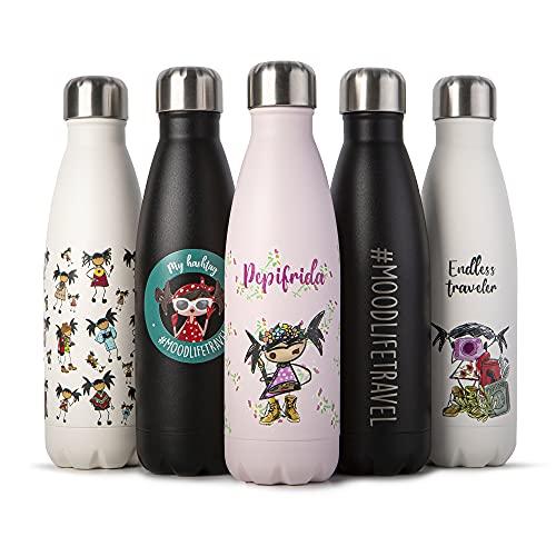 WOOPY Pepita Viajera Botella Térmica de Acero Inoxidable para Agua, Personalizada, Cantimplora, Termo con Doble Aislamiento, Botellas de Frío/Caliente, Libre de BPA, Reutilizable 500ml
