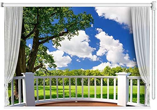 HHJJ Naturaleza oscuras Cortinas enrollables/Persianas for Sala de Estar Ventana del Dormitorio, Garden Park Hierba y los árboles Imagen, 60cm / 80cm / 100cm / 120cm / 140 cm de Ancho