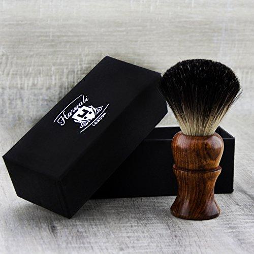 Blaireau de rasage pour homme avec manche en bois pur Livré avec 3 types de poils de blaireau différents Blaireau parfait pour tout type de rasage Livré dans une boîte de marque