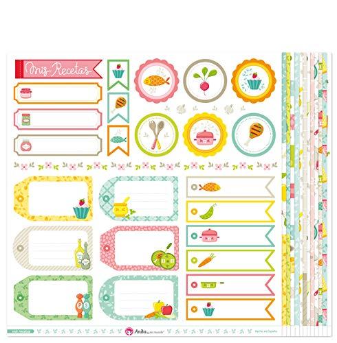 Anita y Su Mundo Colección Mis Recetas Papeles de Scrapbooking, Paper, Multicolor, 30.5 x 30.5 cm