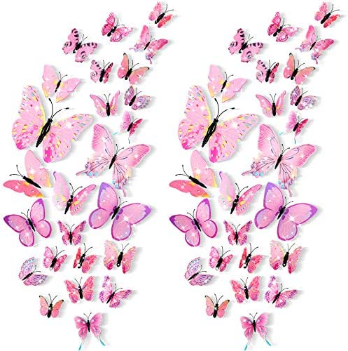 48 Pieces Glitter 3D Butterfly Wall Stickers Removable Butterfly Wall Decals Bling Lively Butterfly product image