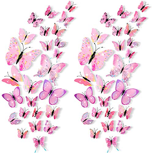 48 Pieces Glitter 3D Butterfly Wall Stickers Removable Butterfly Wall Decals Bling Lively Butterfly Wall Mural for DIY Party Office Home and Room Decoration (Pink)