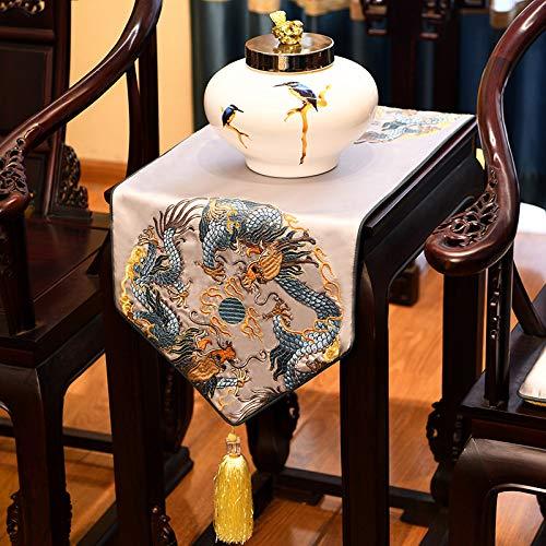 Geborduurde satijnen tafelloper met kwast, Chinese grijze draak patroon kunst decoratieve lang, dik tafelkleed tafelloper voor home decor kantoor vergaderruimte hotel 35×210 cm (13.8×82.7 inch)