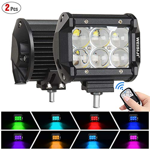LED Pods RGB Work Light 4 Inch 60W LED Cube Driving Light Bar Spot Flood Combo Beam Off Road Lights for Pickup Truck ATV UTV SUV Boat(Spot,2Pcs)