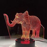 ナイトライトラッキーエレファント7色変更ナイトライトLed 3Dテーブルランプ寝室睡眠ライト家の装飾アート装飾子供ギフト