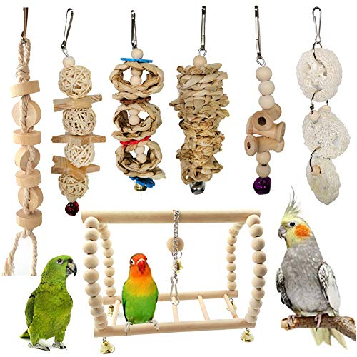 Dyyicun12 vogel papegaai speelgoed, 7 Stks huisdier vogel papegaai hout bal bel touw kraal opknoping ladder schommel kooi kauwspeelgoed cadeau, 7pcs, Wood Color