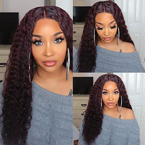 Faeryle Curly Hair Burgundy Lace Front Wigs Synthetic Heat Friendly 99j Long Curly Wig for Women with Middle Parting 150% Density Natural Looking 22inches