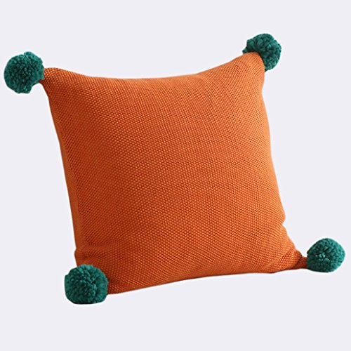 "Sothread Fashion Knitting Decorative Throw Pillowcase Square Sofa Cushion Cover 18""x18"" (Orange)"