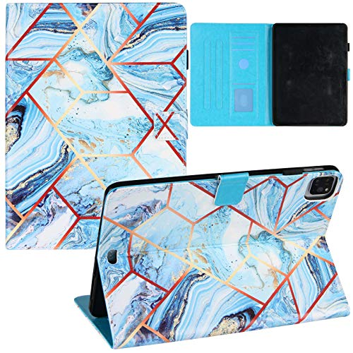 JCTek Folio Case Compatible for iPad Air 4th Gen 10.9 inch 2020/ iPad Pro 11 2020 & 2018,PU Leather Flip Stand Protective Cover (Stitching Marble-Blue)