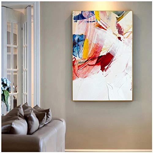 Pintura abstracta en lienzo de colores cálidos, carteles rojos y azules, imágenes artísticas de pared para sala de estar, decoración nórdica de moda, 50x75cm sin marco artppolr