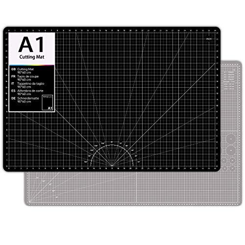 O'woda Alfombrillas de Corte A1(60 * 90 cm), 5 Capas PVC Cutting Mat Autocuración, Durable y Antideslizante, Estera para corte con Cuadrícula y Marcas (Negro+Gris)