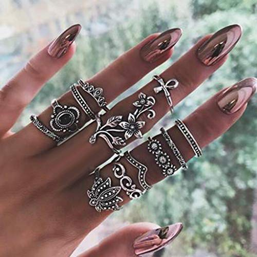 Ring Sets Mode Finger Ringe Knuckle Vintage Silber Stapelbar Edelsteinring Geschenk Hochzeit Schmuck ZubehöR DüNner Fingerring FüR Frauen MäDchen