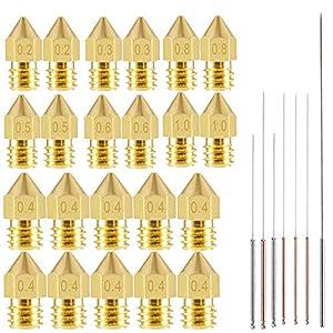 SODIAL(R) - 22 boquillas de impresora 3D Mk8 extrusor boquilla 0,2 ...