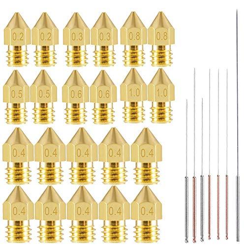 22pcs 3D Printer Nozzles,MK8 Brass Extruder Nozzle Print Head and 7pcs...
