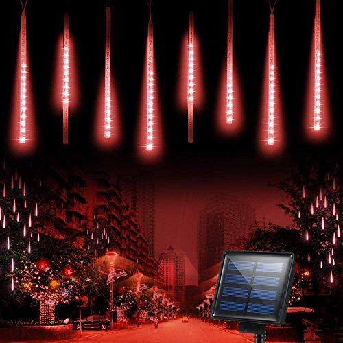 LED duschlampor, KEEDA 30 cm 8 rör 288 LEDs solcell regndroppe kaskadbelysning istapp ljusslinga för bröllop julfest utomhus trädgård lusthus dekoration (Röd)
