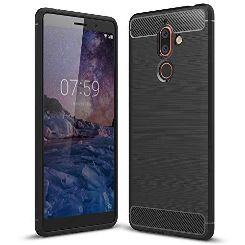 NALIA Funda Carbono Compatible con Nokia 7 Plus, Protectora Movil Carcasa Cobertura Silicona Ultra-Fina Gel Bumper Estuche, Ligera Goma Telefono Cubierta Delgado Cover Smart-Phone Case - Negro