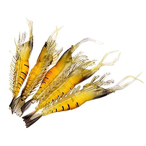 TOOGOO(R) Senuelo de Pesca 5Pcs 9cm 4g Exterior Pesca Senuelo Suave Simulacion Camaron de Gambas de Peso Ligero Cebo Pescado Olor Amarillo